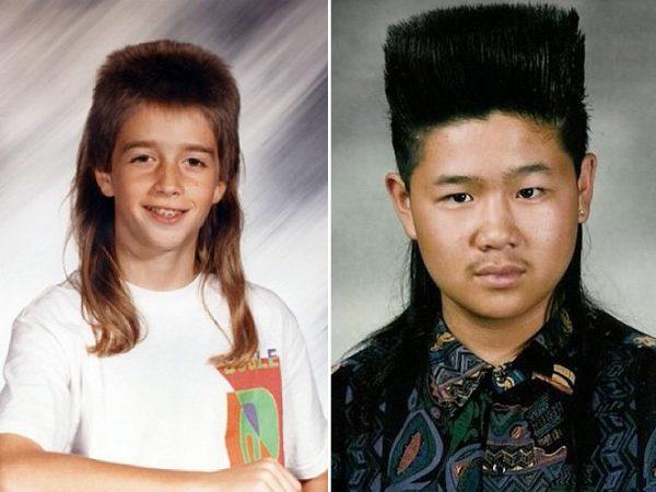 Коллаж из двух фото с нелепыми детскими причёсками