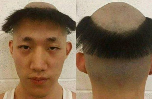Коллаж из двух фото с нелепыми причёсками: вид спереди и сзади
