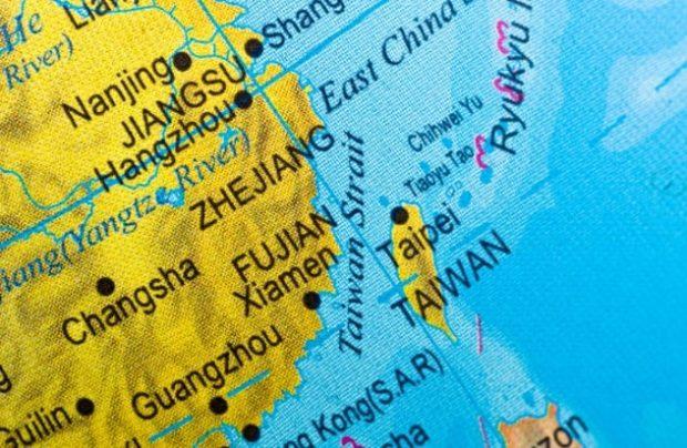 Участок карты мира с изображением Тайваня