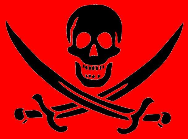 Красный пиратский флаг