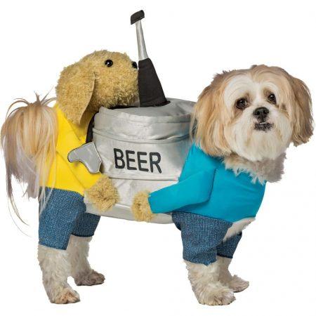 Собака в смешном костюме с банкой пива