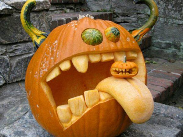 Забавная тыква для Хэллоуина
