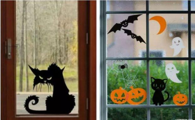 Хэллоуинские варианты украшения окна