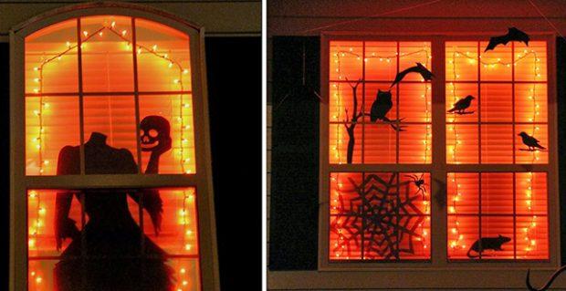 Оформление окон на Хэллоуин