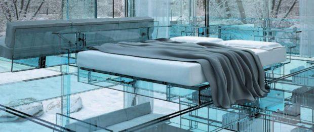 Кровать из стекла
