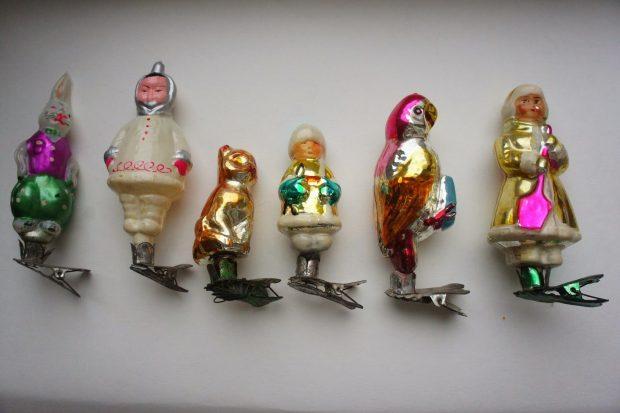 Советские ёлочные игрушки на клипсах