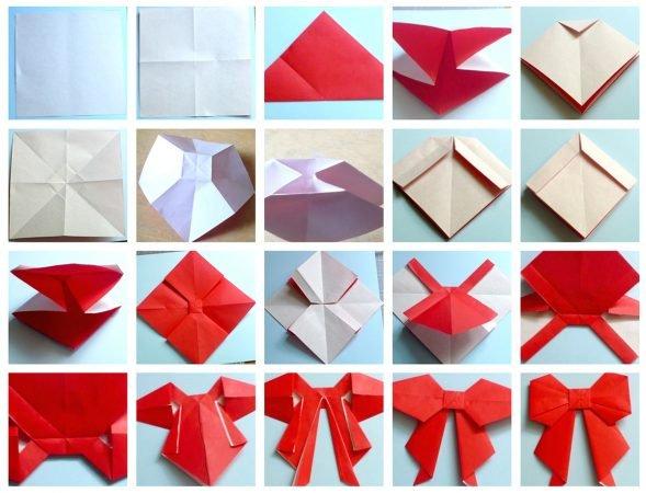 Оригами новогодний бант