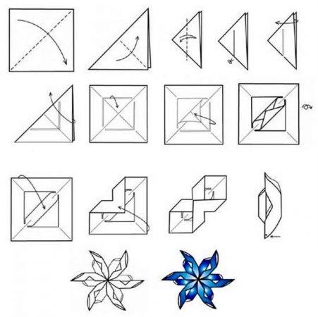 Как сделать снежинку оригами