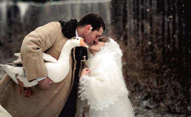 Зачем на свадебном фото гусь?