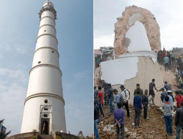 Землетрясение в Непале «снесло» башню