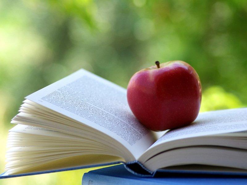 Книга и яблоко