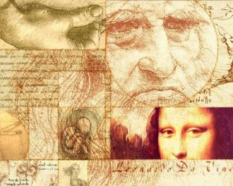 Коллаж из портрета Леонардо да Винчи и Моны Лизы