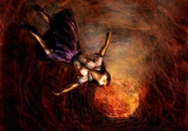 Изображение девушки, падающей в жерло вулкана