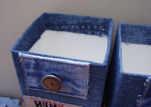 Контейнеры для хранения из старых джинсов