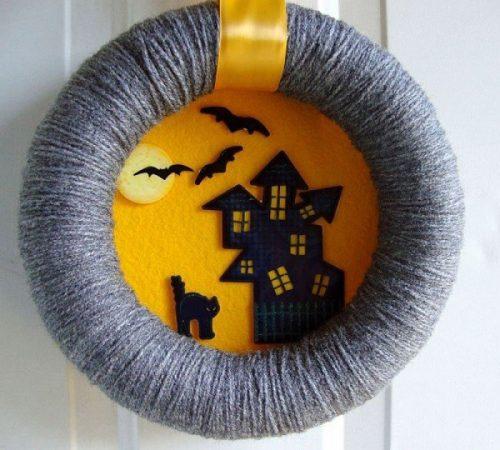 Венок на дверь к Хэллоуину